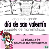 Second Grade Valentine's Day Math Packet - SPANISH