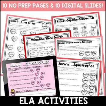 Valentine's Day Literacy and Math: No Prep Second Grade