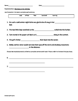 "Second Grade Vocabulary Quiz ""Montigue On the High Seas""-CCSS Aligned"