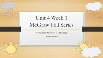 Second Grade Vocabulary Review-Unit 4 Week 1-McGraw Hill Reading Series