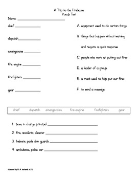 Second Grade Vocabulary Tests: A Trip to the Firehouse