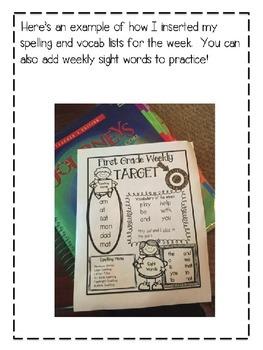 Second Grade Weekly Editable Homework Newsletter