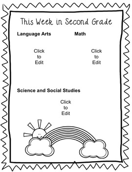 Second Grade Weekly Homework and Newsletter EDITABLE Templates