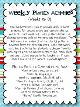 Weekly Phonics Activities Homework for 2nd Grade {Weeks 13-18}
