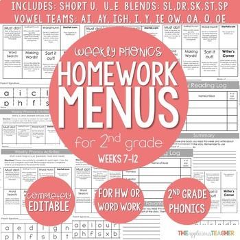Weekly Phonics Activities Homework for 2nd Grade {Weeks 7-12}