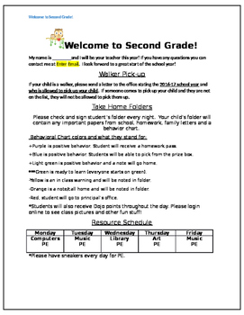 Second Grade Welcome Letter