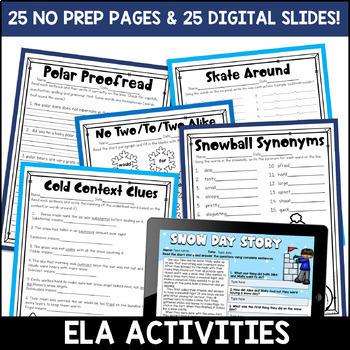 Winter Literacy and Math: No Prep Second Grade