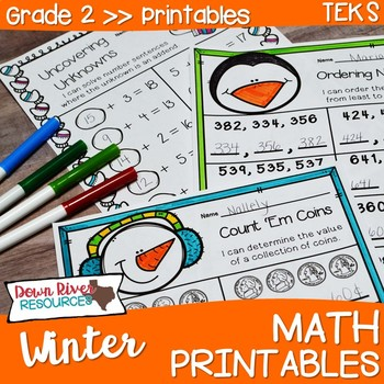 Second Grade Winter Math No Prep Printables {TEKS/CCSS}
