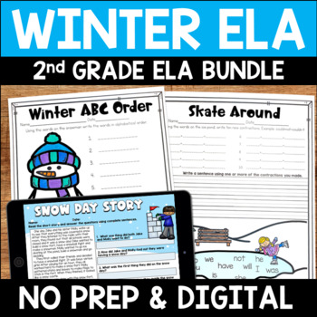 Winter No Prep Literacy Pack for Second Grade