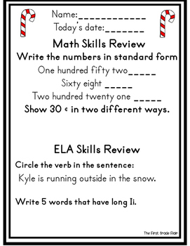 Second Grade Winter Review Packet *Common Core Aligned*