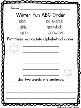 Second Grade Winter Writing and Fun Pack NO PREP