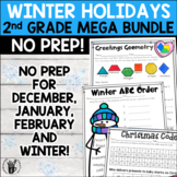 Winter Holidays Literacy and Math No Prep Bundle for Second Grade