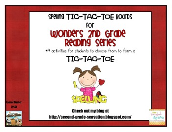 Second Grade Wonders Spelling Tic-Tac-Toe Choice Boards with Word Lists