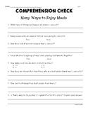 "Second Grade Wonders  U3W4 Comprehension Check ""Many Ways"