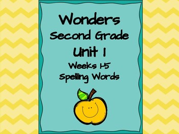 Second Grade Wonders complete set Unit 1 spelling words