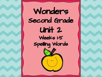 Second Grade Wonders complete set Unit 2 spelling words