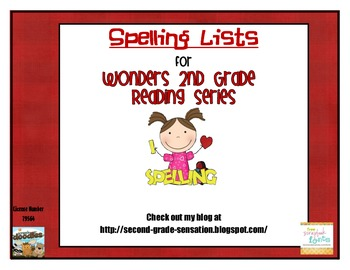Second Grade Wonders Weekly Spelling Lists