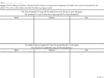 2nd Grade Word Problems: Sketch and Solve (Add/Subtract within 100)