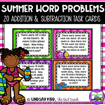 Second Grade Word Problems:  Summer Set