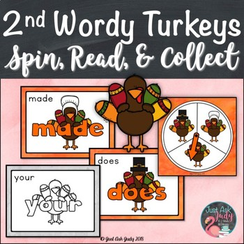 Second Grade Wordy Turkeys Sight Word Game
