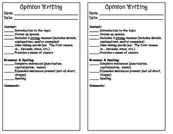 Second Grade Writing Checklist for Grading