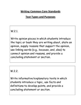 Second Grade Writing Common Core Standards Bulletin Board Set