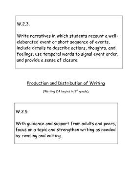 Second Grade Writing Common Core Standards Bulletin Board Set