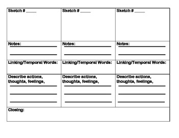 Second Grade Writing Common Core W.2.3 Planning Template