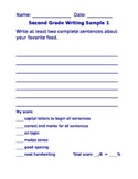 Second Grade Writing Sample
