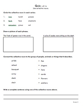 Second Grade Writing and Language Common Core Assessments
