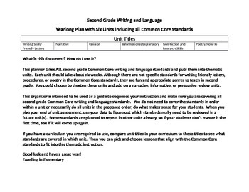 Second Grade Writing and Language Common Core Year Long Unit Planner