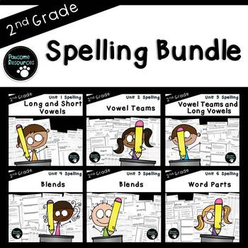 2nd Grade Spelling Curriculum (over 600 editable items, Common Core aligned)