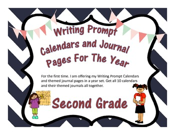 Second Grade Year of Writing Prompt Calendars and Journal