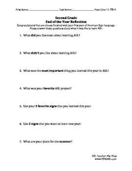 Second Grade end of year ASL reflection