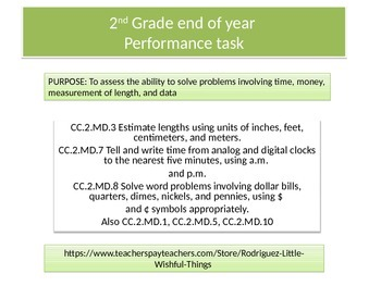 Second Grade End of Year Math Performance Task 2015 version