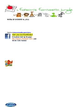 Second Grade newsletter template for first week
