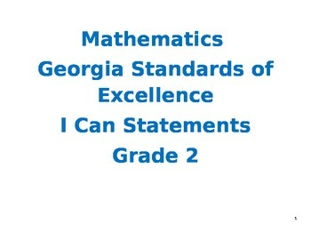 Second Grade Mathematics Georgia Standards of Excellence I Can Statements