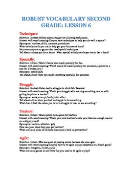 Second Grade robust vocabulary