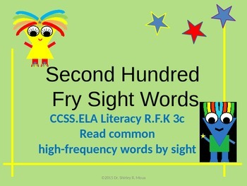 Second Hundred Fry High Frequency Words/Sight Words