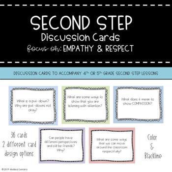 Second Step Discussion Cards {BUNDLE} SEL Grades 4-5
