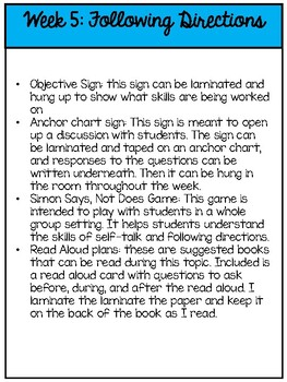 Second Step Extension Activities Unit 1 Week 5: Following Directions