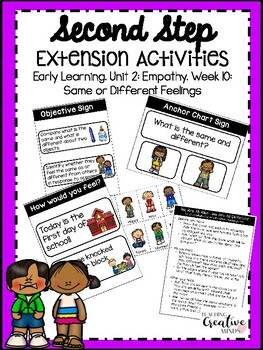 Second Step Extension Activities Unit 2 Week 10: Same or Different Feelings