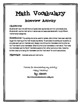 "Second/ Third Grade Math Vocabulary ""Interview A Word Activity"""