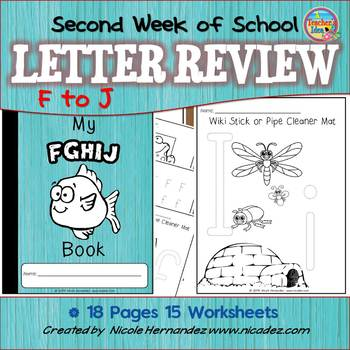 Second Week of Kindergarten Letter Review 'f' to 'j'