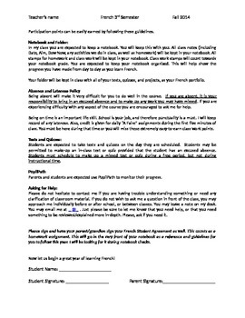 Second Year French policies and procedures / syllabus / student parent agreement