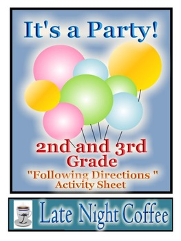 Second and Third Grade: Following Directions Activity Sheet with Party Theme