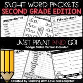Second Grade Sight Word Packets | Google Classroom Distanc