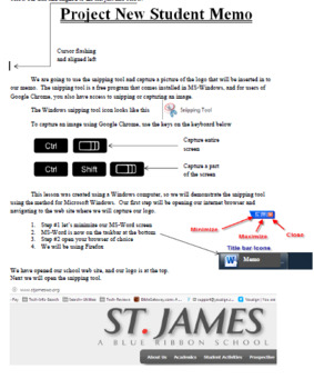 Second and Third Grade MS-Word / Google Docs: Project Memo Lesson 1-3