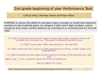 Second grade Beginning of Year Math Performance task 2015 version