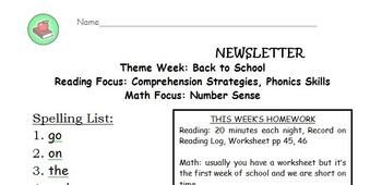Second grade HM spelling list homework newsletter for the full year